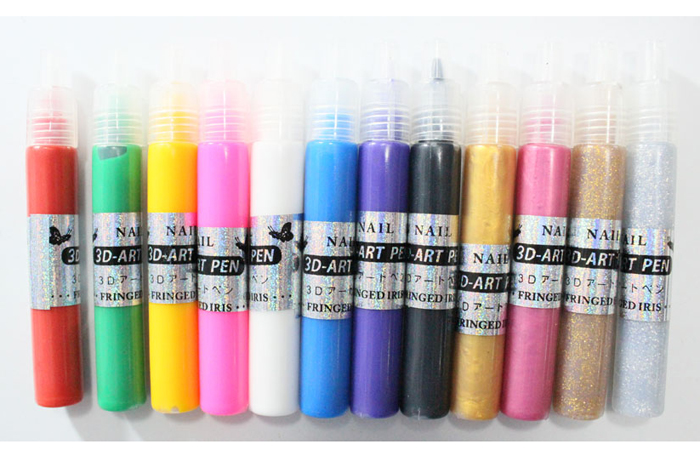 12 Colors Professional 3D Nail Art Paint Drawing Pen Acrylic Nail Polish