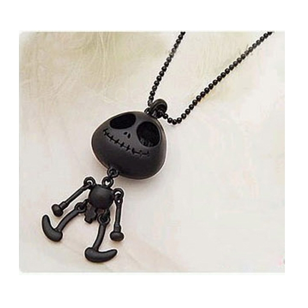Alien with Big Eyes Pendant Round Ball Chain Necklace Sweater Chain Black