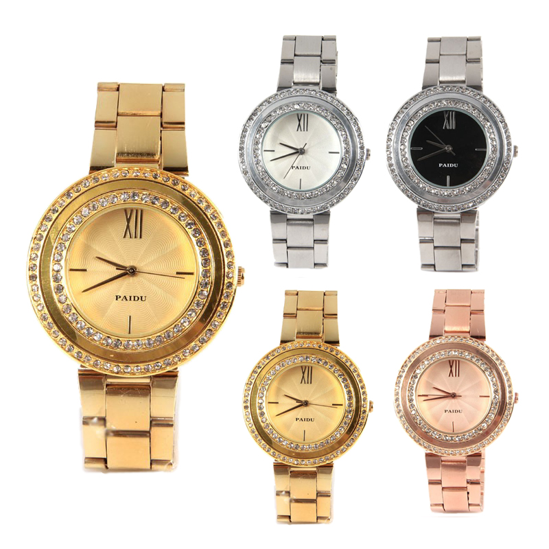 Women Watch Roman Number and Strips Hour Marks with Round Dial Steel Band