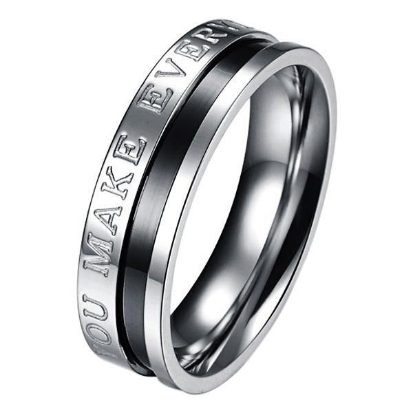 �You Make Every Day Wonderful� Puzzle Pattern Titanium Steel Couple Rings