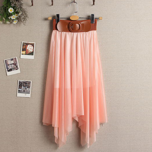 Lady Fashion Retro Style Sexy Chiffon Pleated Elastic Belt Waist/Bust Skirt @G7