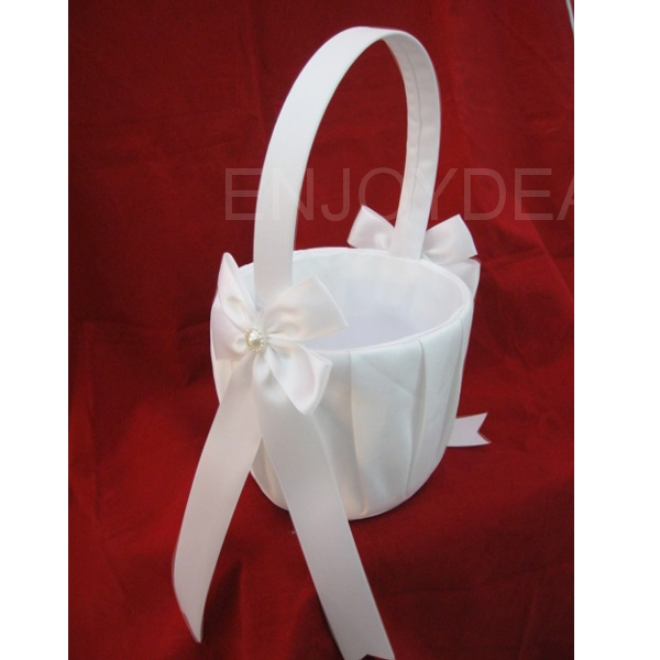 Beautiful Elegant Satin Wedding Bridal Ceremony Flower Basket Candy Basket