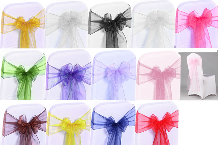 50pcs Chairs Organdy Yarn Satin Decoration Accessories for Wedding Party