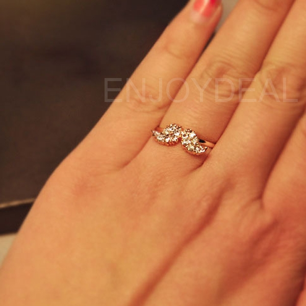 Women Adjustable Ring Jewelry Cute Mustache Pattern Full of Crystal Drills