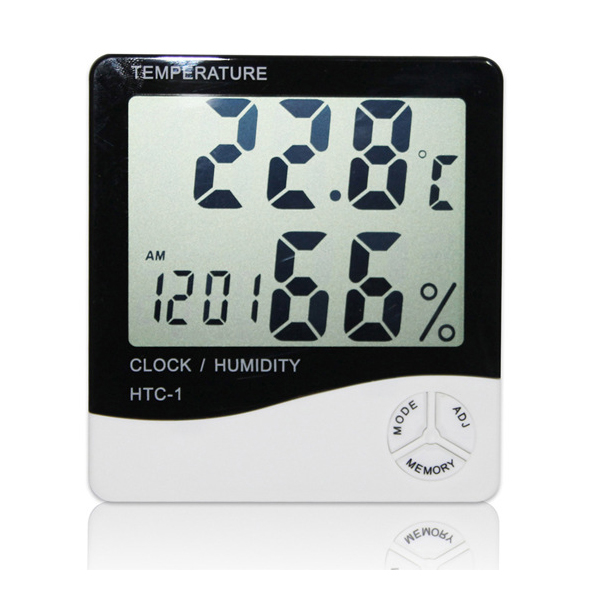 Electric Digital Indoor Thermometer Hygrometer Alarm Clock 3in1 Instrument