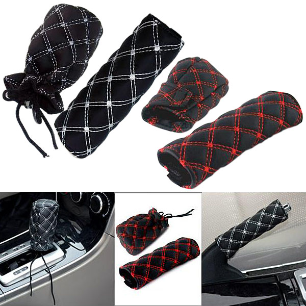 Leather Handbrake Brake Cover Sleeve Gear Cover Sleeve Set Auto Car Supply