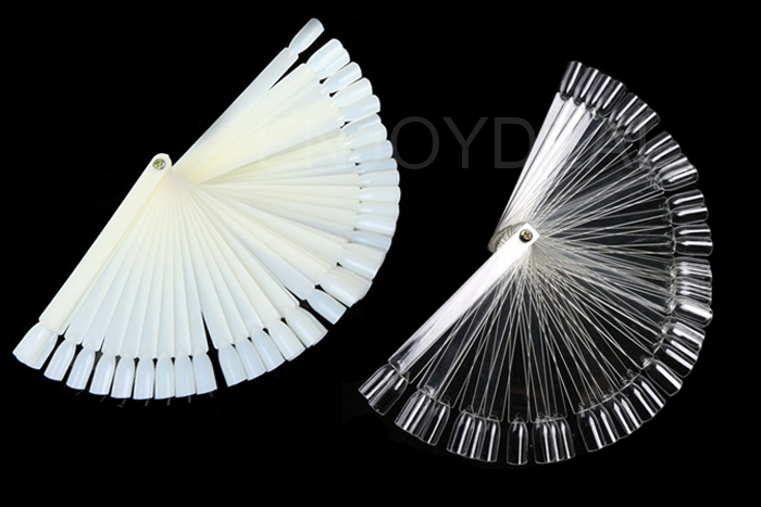 Lady Foldable Fan Shaped Nail Art Board Tips Stick Polish Display Practice