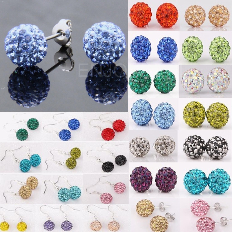 Fashion Women Shambhala Sparkle Round Crystal Ball Shaped Earring Ear Stud