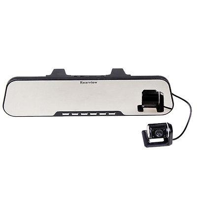 "Dual Lens 2.7"" TFT LCD Car Rearview Mirror DVR Cam Camera Recorder V"