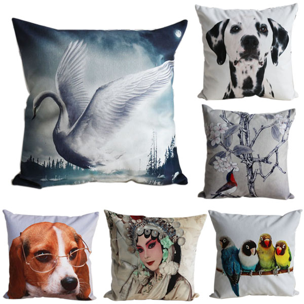Nice Short Plush Sofa Cushion Pillow Case/Cover with 3D Digital Patterns on