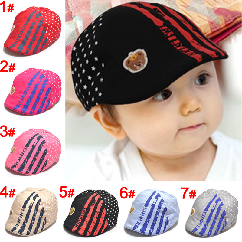 Toddler Cotton Peaked Cap Kids Sun Hat with Cute Bear and Pentagram Pattern