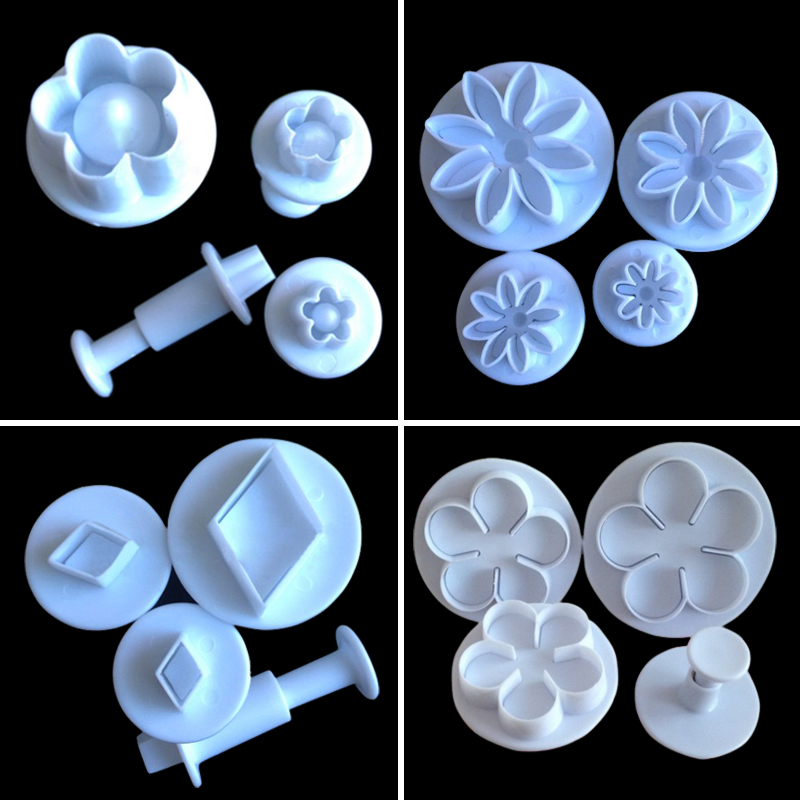 4pcs Cake Bread Cookie Sugar Craft Pastry Plunger Spring Printing Mold Tool