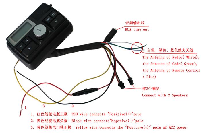 NEW USB/SD/TF Motorcycle Audio System MP3 Stereo Speaker Set for Motor Bike