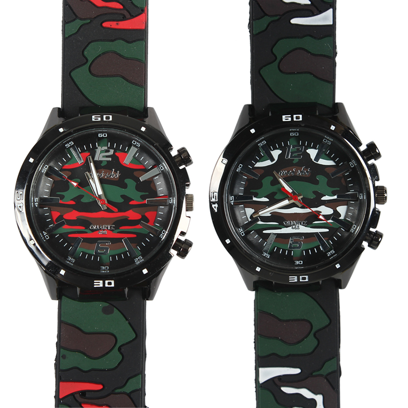 Wholesale Camouflage Print Wrist Watch Durable Rubber Band Figures and Scales Dial
