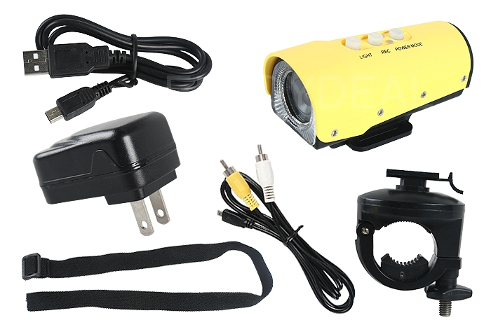 1080P Waterproof Mini Action Camera for Outdoor Sports Digital Video Yellow