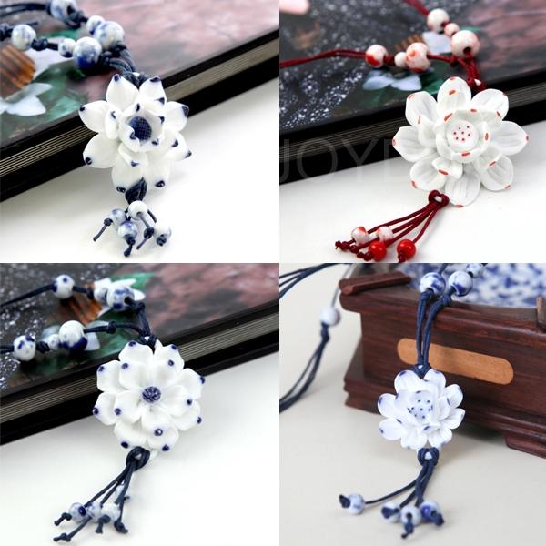 Chinese Style Hand Craft Necklace with Ceramics as Pendant Sweater Chain