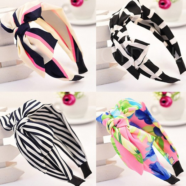 New Women Hairband Wide Big Bowknot Ribbon Plated Hairband Hoop Accessory