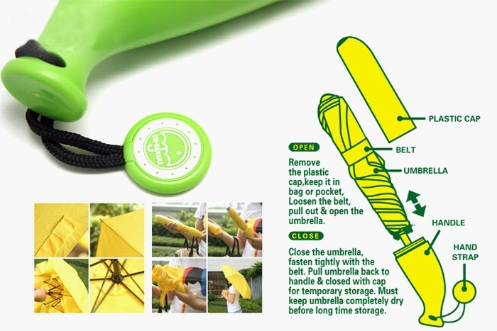 Portable Banana Style Folding Anti-UV Sun & Rain Umbrella