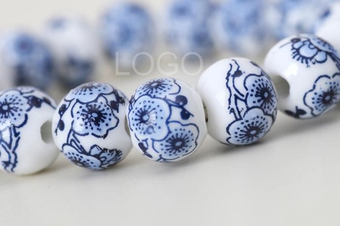 Chinese Style Ceramic Balls Bracelet Blue and White Porcelain Wrist Jewelry