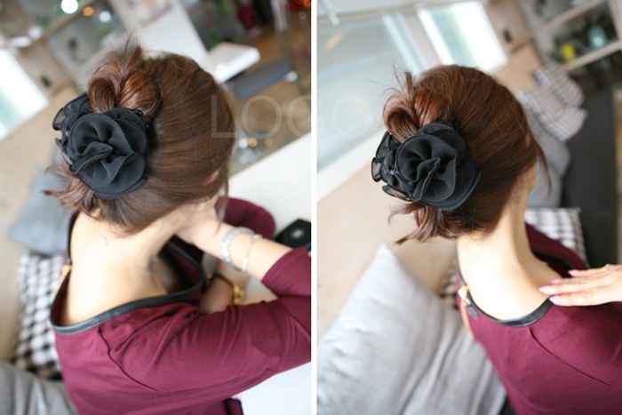 Chiffon Rose Flower Bow Jaw Clip Barrette Hairband Hair Claw Accessories