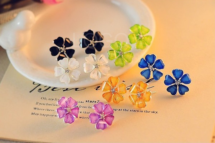 2pairs New Crystal Stud Earrings Candy Color Five Leaves Ear Nail Earring
