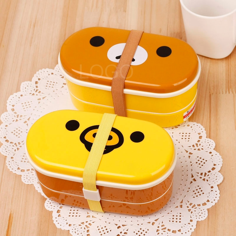 2 Tier New Cute Lunch Box Bento with Cartoon Pattern High Heat Resistance