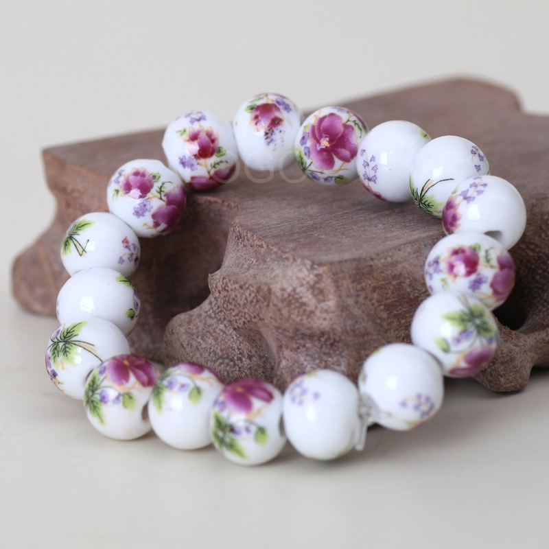 Chinese Style Ceramic Balls Bracelet Blue and White Porcelain Wrist Jewelry