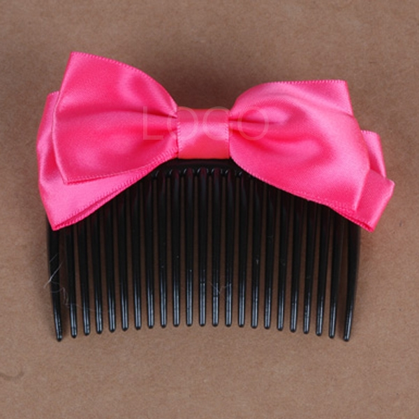 New Women Hair Comb Cute Satin Bowknot Plated Hairpin Insert Comb Hairband
