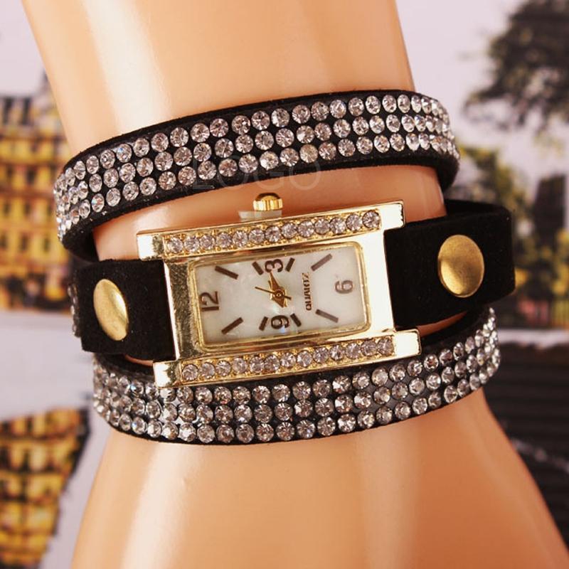 Wrist Watch Rhinestone Vintage Square Watch Weave Wrap Bracelet Watch Black