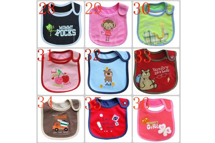 Practical Cute Baby Kids Bib Pinny 3Layers Waterproof Purified Cotton Towel