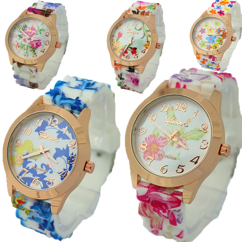 Women Silicon Flower Printing Band Wrist Watch Casual Quartz Digital Watch