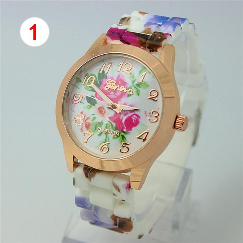 Wholesale Women Silicon Flower Printing Band Wrist Watch Casual Quartz Digital Watch