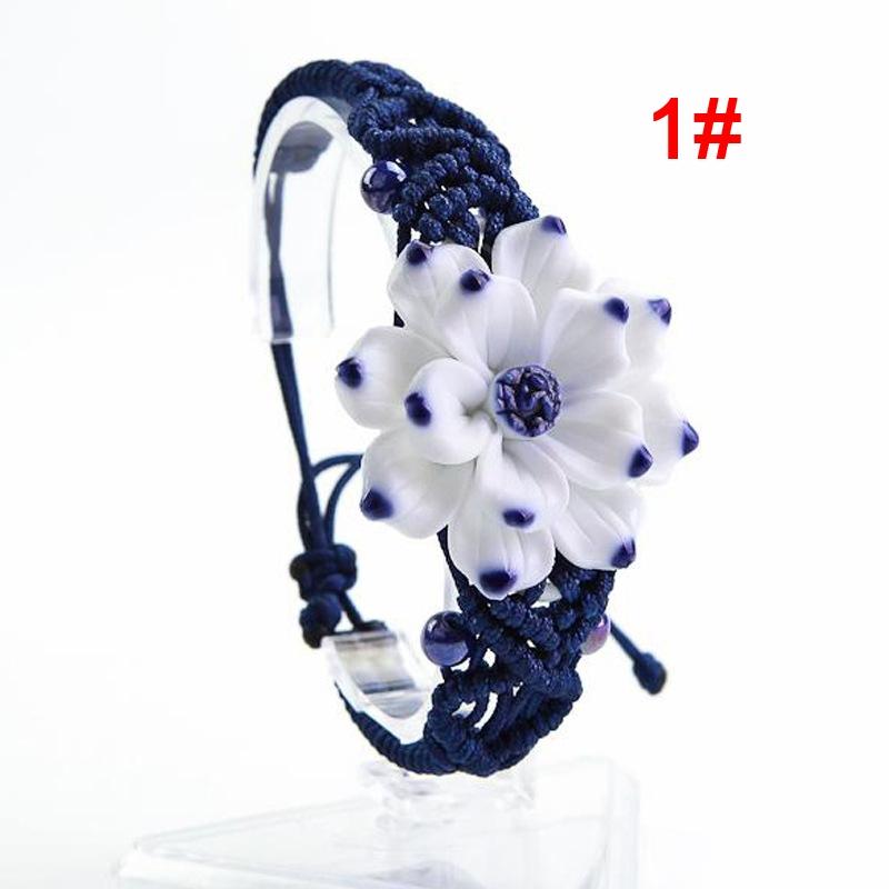 Woven Bracelet Chinese Style Ceramic Flower Bracelet Wrist Jewelry Type 1#