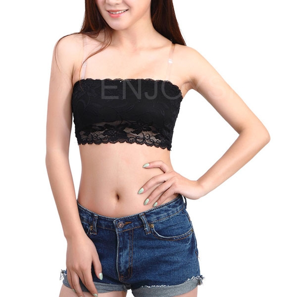 Fashion Women Sexy Casual High-ElasticLace Solid Strapless Seamless Black