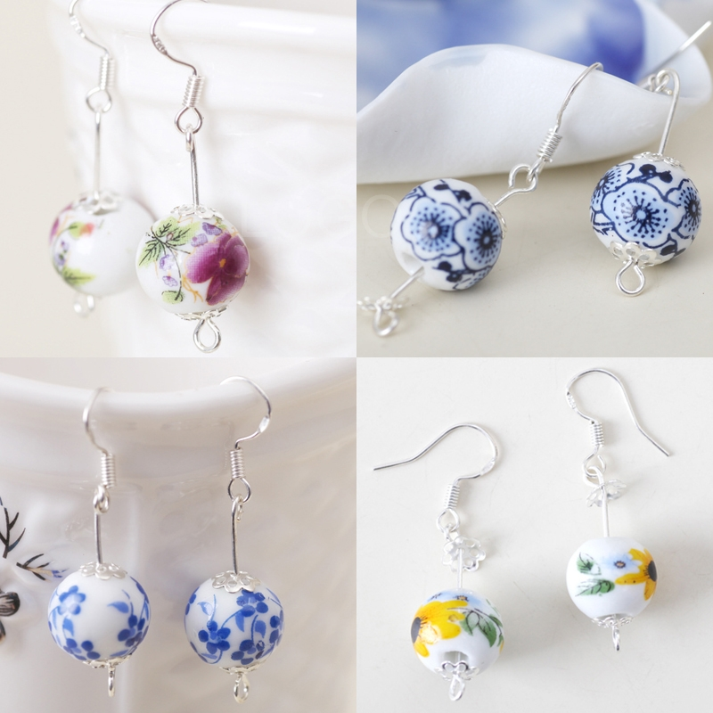 Ceramic Ball Drop Pendant Ear Rings Manual Women Ear Studs in Chinese Style