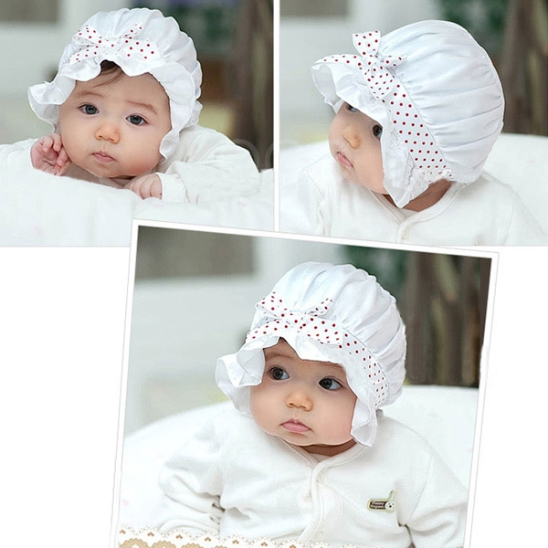 New Baby Girls Boys Cap Summer Sun Hat Dots Lace Cotton Bowknot Cute Hat