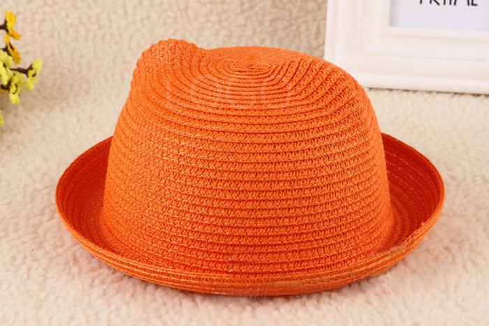 Cute Baby Kids Sunhat Topee Summer Straw Sunbonnet with Elastic Chin Belt