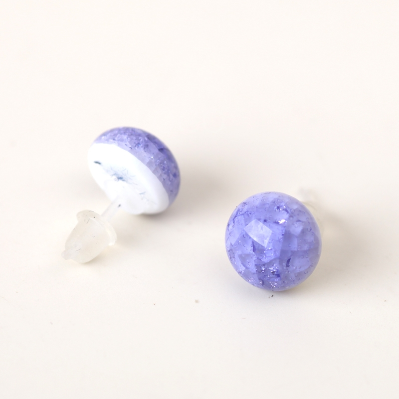Simple Crackle Glaze Ceramic Earrings Ear Studs Women Craft Jewelry Purple