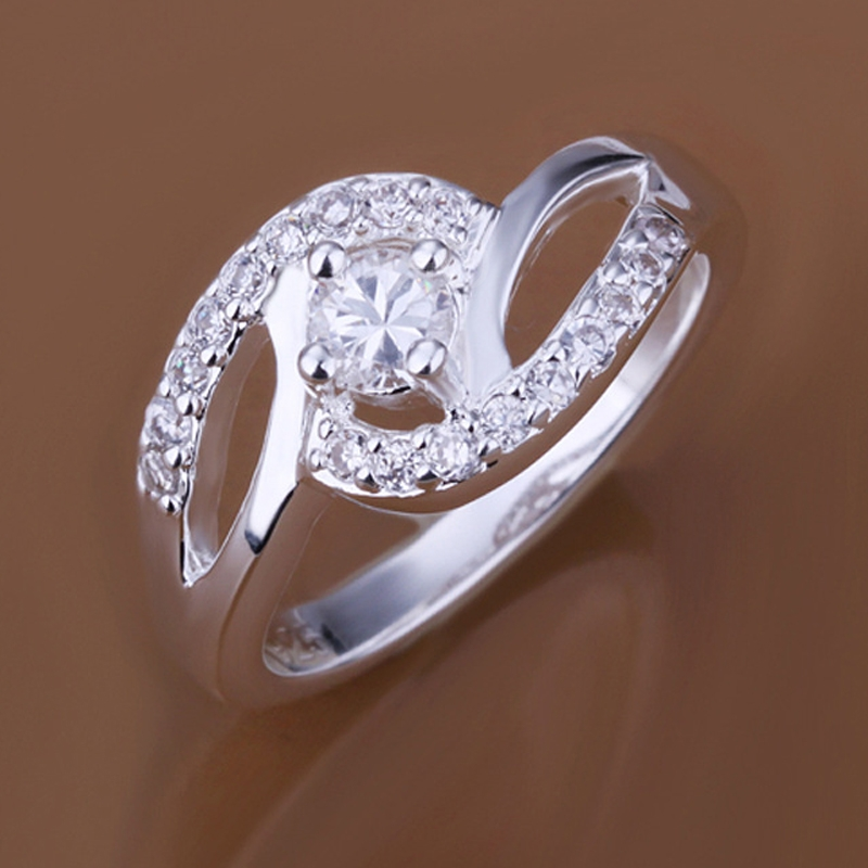 Fashion Elegant Silver Inlayed with Shinning Crystals Women Dicyclic Ring