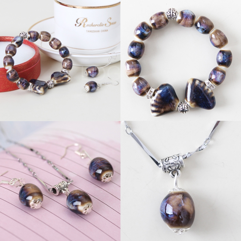 Cute 2in1 Women Bracelet/Necklace and Earrings Set Ceramic Made Beads +Box