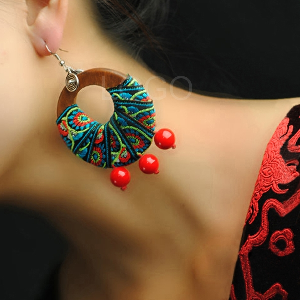 Women Earrings Ear Studs Wooden Ring Bind with Cloth+Stone Beads as Pendant