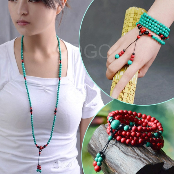 Morgan Necklace Bracelet Beauty Turquoise Beads Hand Chain Sweater Chain