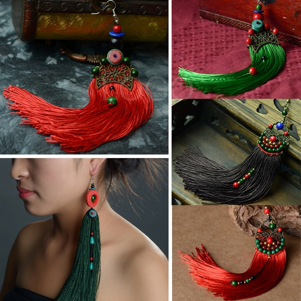 1pcs Long Tassel Drop Earring Dangle with Craft Beads for Stage Performance