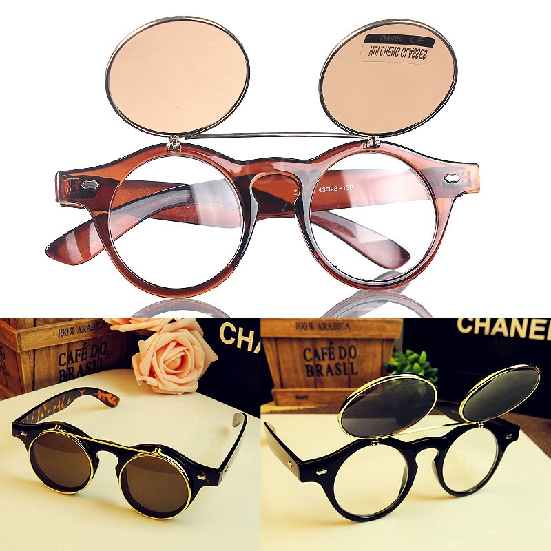 Punk 2in1 Round Frame Cool Sunglasses+ Plain Glasses Unisex Anti-UV Goggles