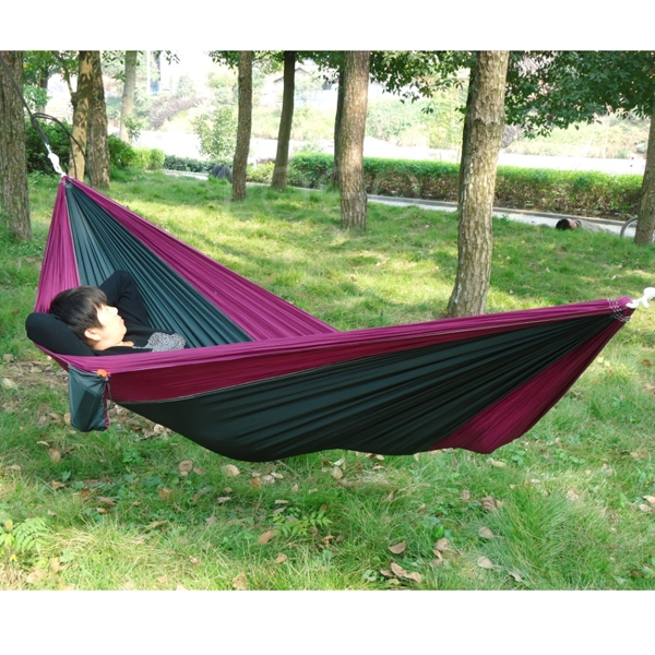 Portable Outdoor Traveling Camping Parachute Nylon Fabric Hammock for 2 Men