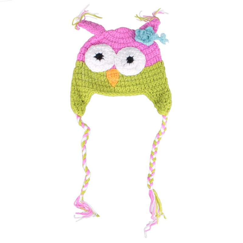 Fashion Baby Crochet Knitting Animal Owl Hat Warm Baby Winter Owl Beanie Ha