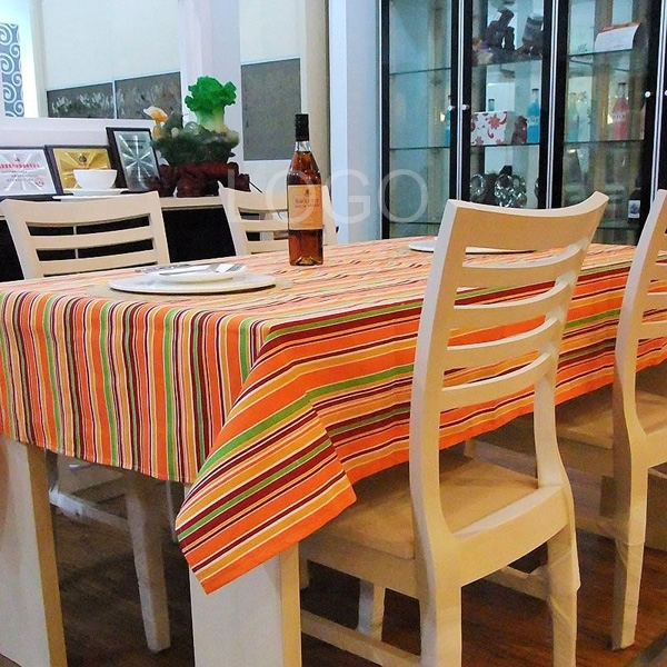 Washable Printed Cotton Canvas Rainbow Stripe Dining Table Cloth Runner
