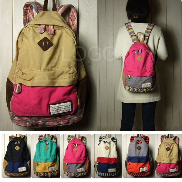 Fashion Girl Canvas Travel Satchel Shoulder Bag Backpack School Rucksack