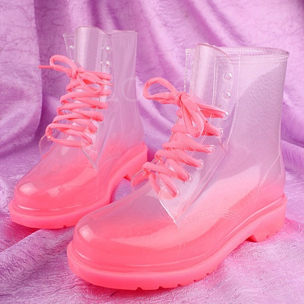 Nice Candy Color Crystal Clear Flats Heels Water Shoes boots ...