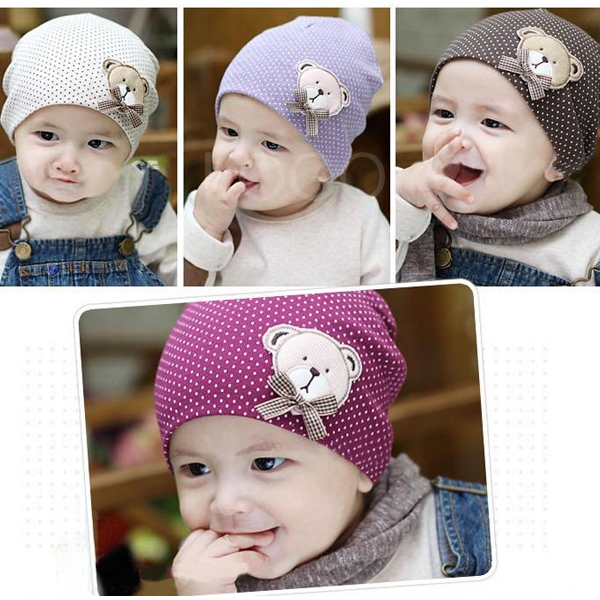 Baby Kids Toddler Cotton Dots Hat Beret Cap Beanie Cap with Bear Pattern